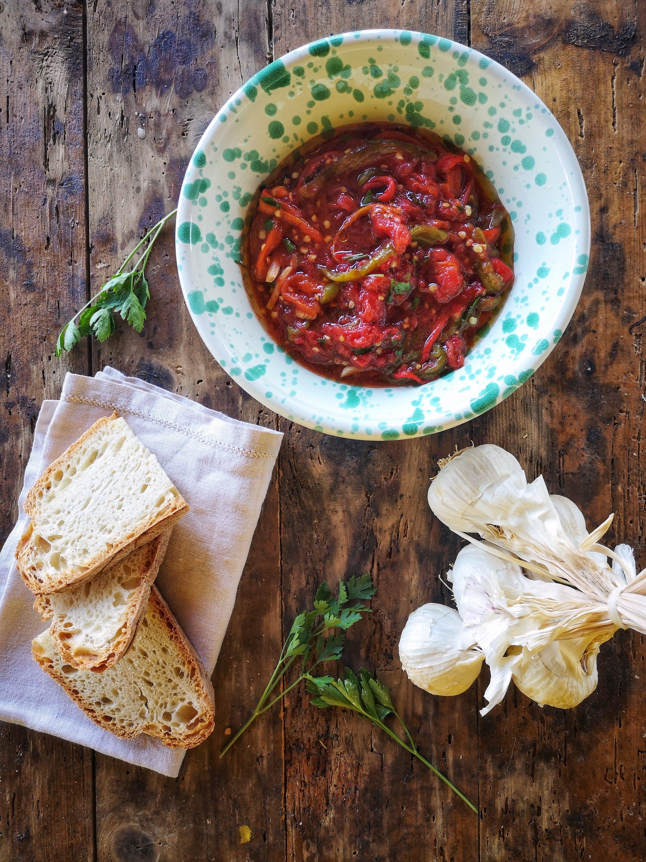 peperoni con pomodori arrosto